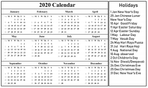 Printable Calendar 2020 with Singapore Holidays