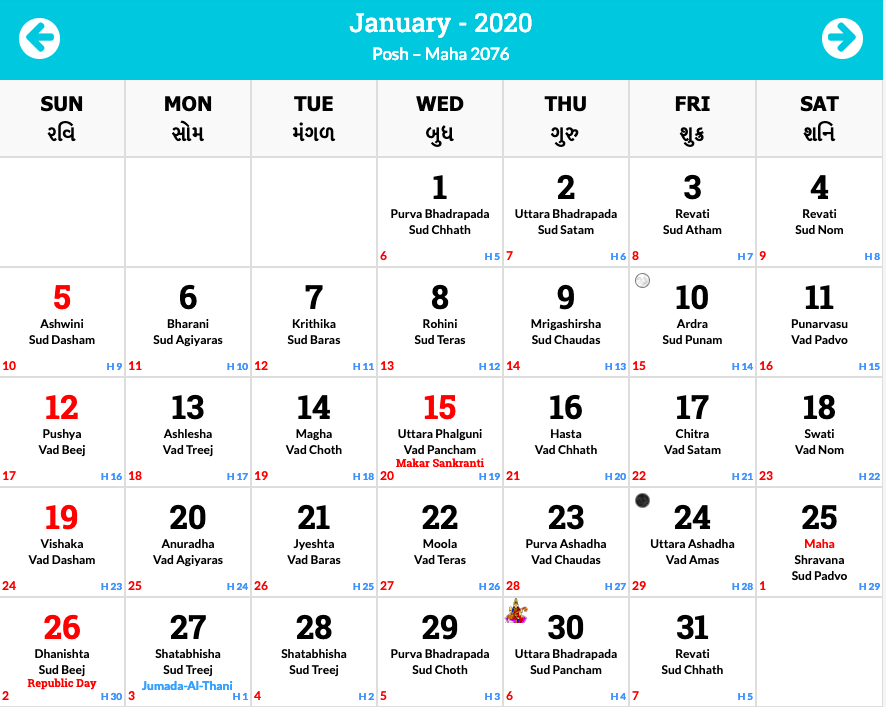 January 2020 Hindu Calendar
