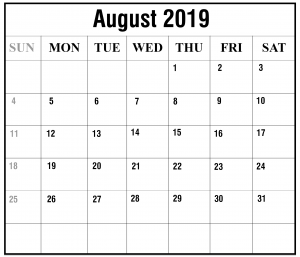 Free August 2019 Calendar With Holiday