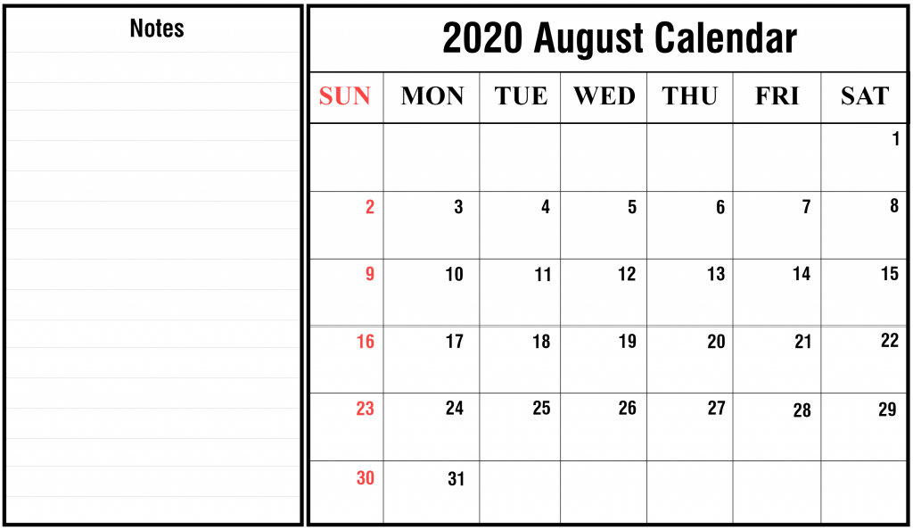 August Portrait And Landscape Calendar 2020