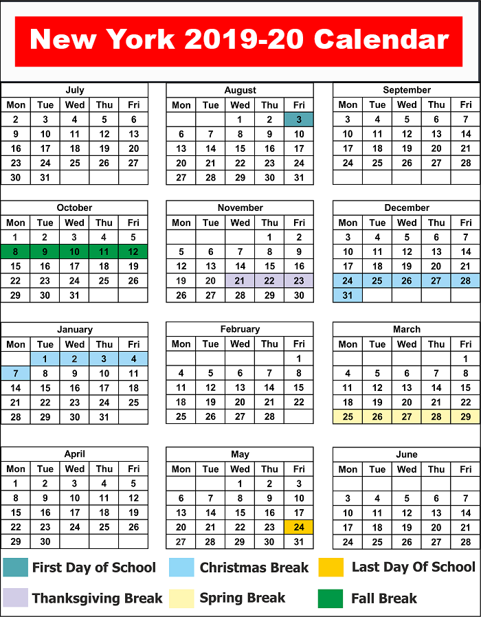 New York School Calendar 2020 NYC (NEW YORK CITY) School Calendar 2019  20 | Best Printable Calendar