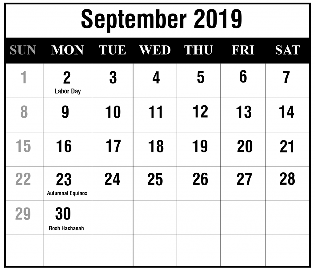 Free September 2019 A4 Calendar With Holiday