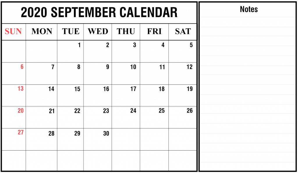September Portrait Calendar 2020