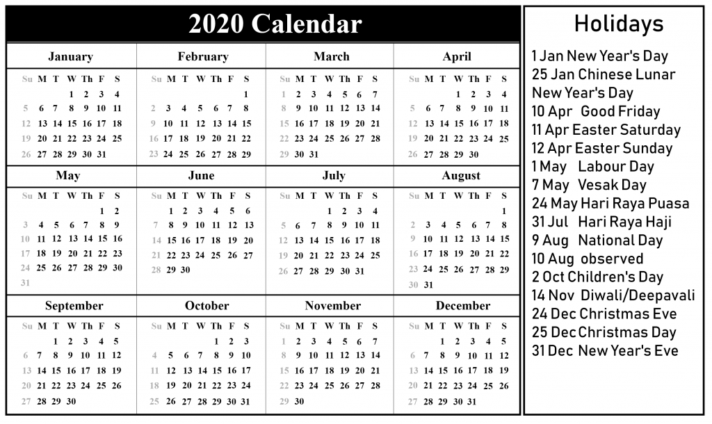 2020 YEARLY CALENDAR WITH HOLIDAYS