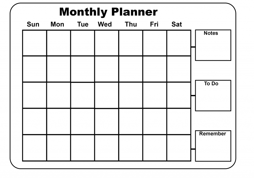 Printable Monthly Planner Excel