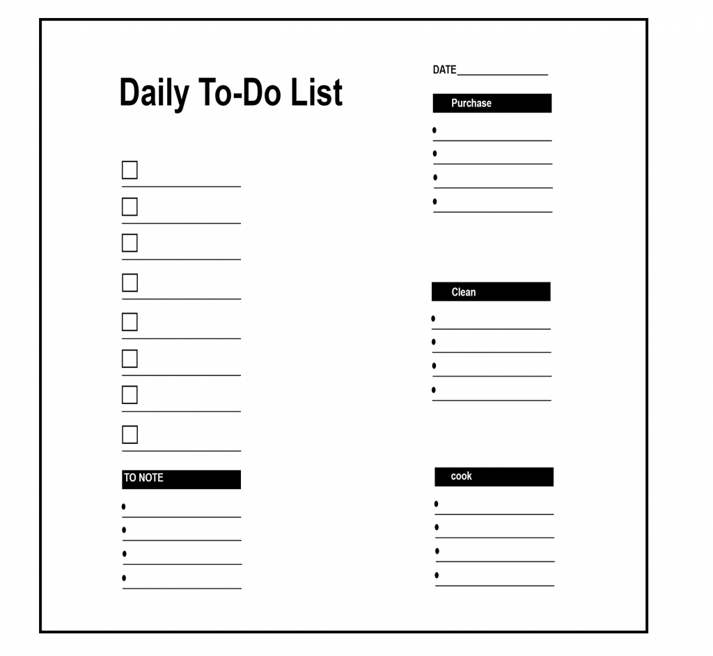 photo relating to Printable Daily to Do List identified as 5+ Printable Day-to-day In direction of Do Record 2020 Templates Suitable