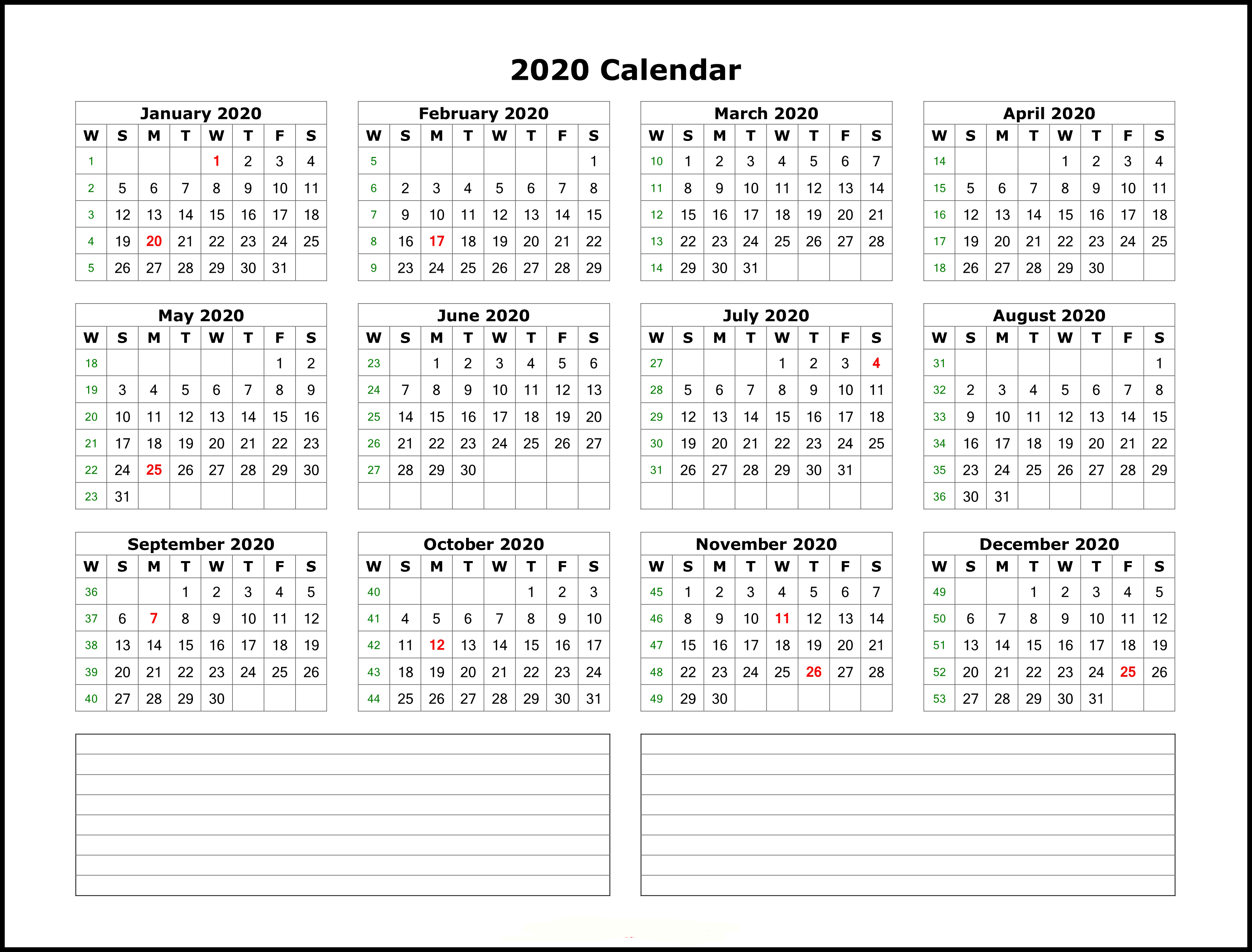 2020 Printable Yearly Calendar.Free Printable 2020 Yearly Calendar Template Best