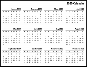 Download Free Yearly 2020 Printable Calendar