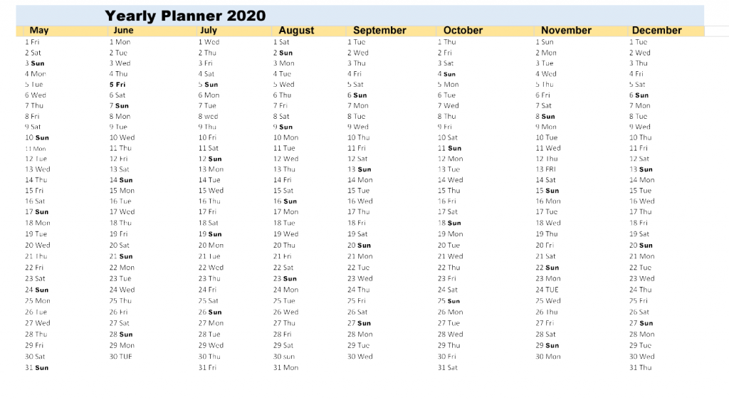 Yearly Planner Excel