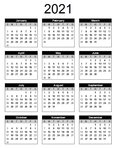 Free Printable One Page Calendar 2021 Template | Best ...
