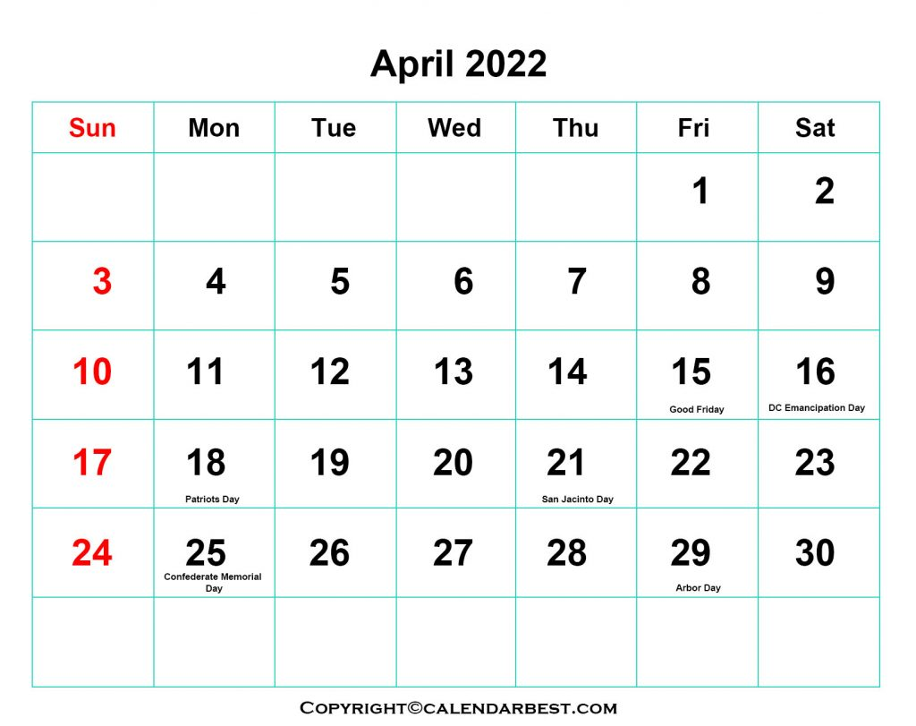 2022 Holidays in April