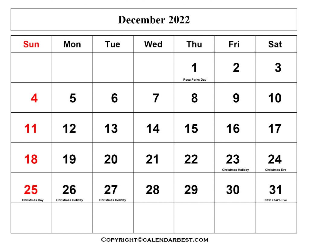 December Calendar 2022 with Holiday