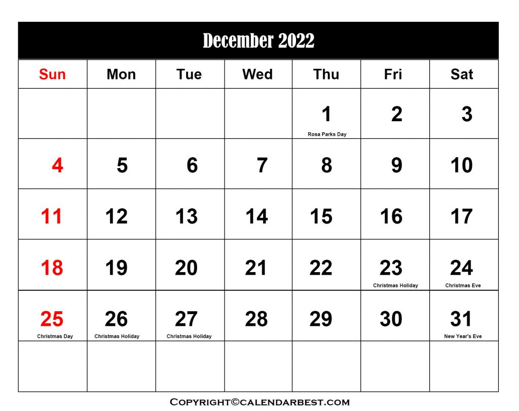 2022 Holiday in December