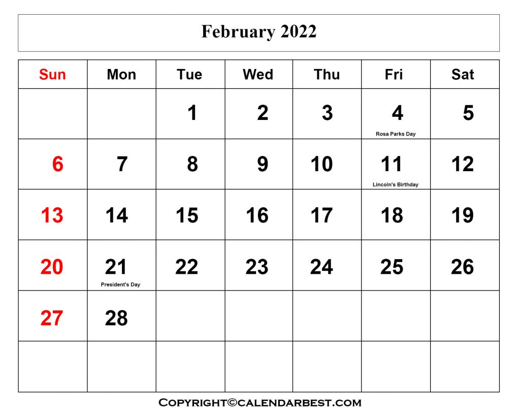 2022 Holiday in February