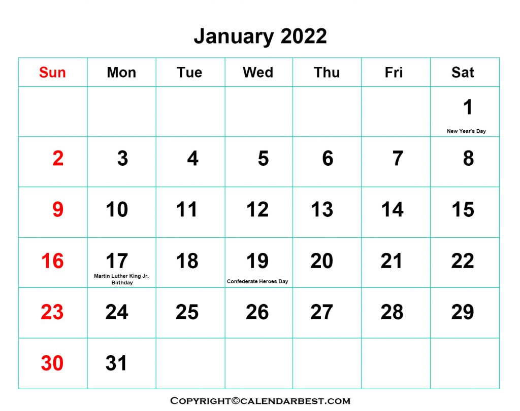 2022 Holiday in January