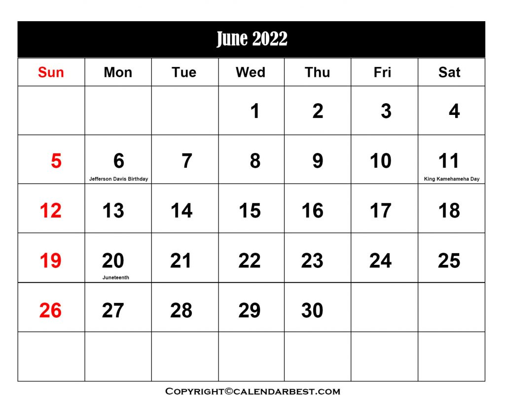 2022 Holiday in June
