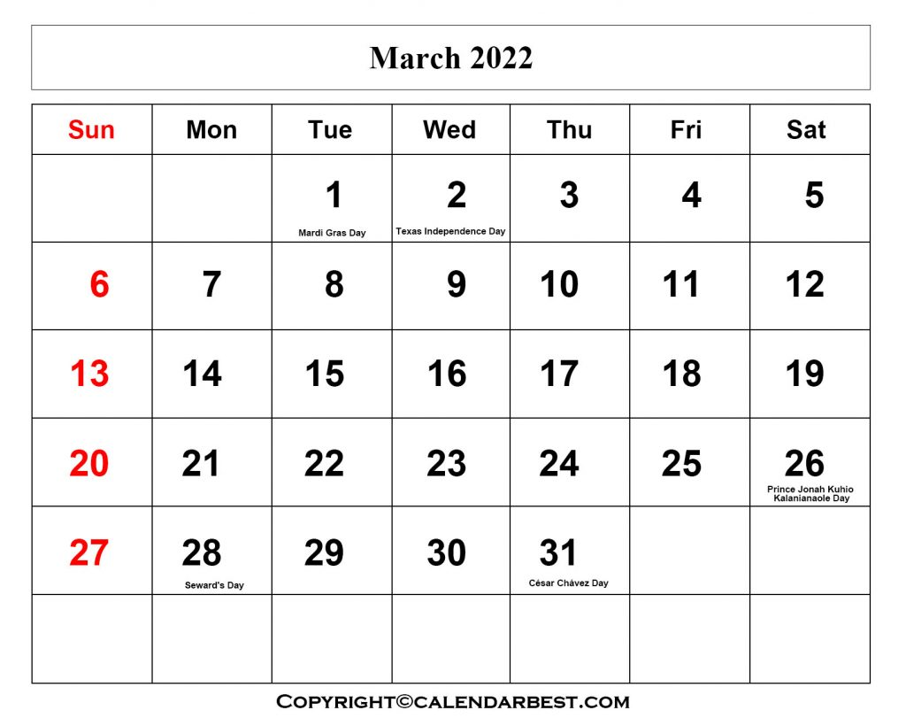 March Calendar 2022 With Holidays
