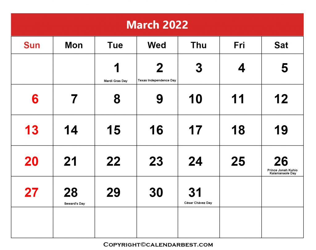2022 Holiday in March