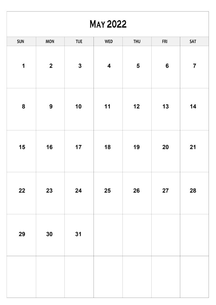Free May Calendar 2022 A4 Size