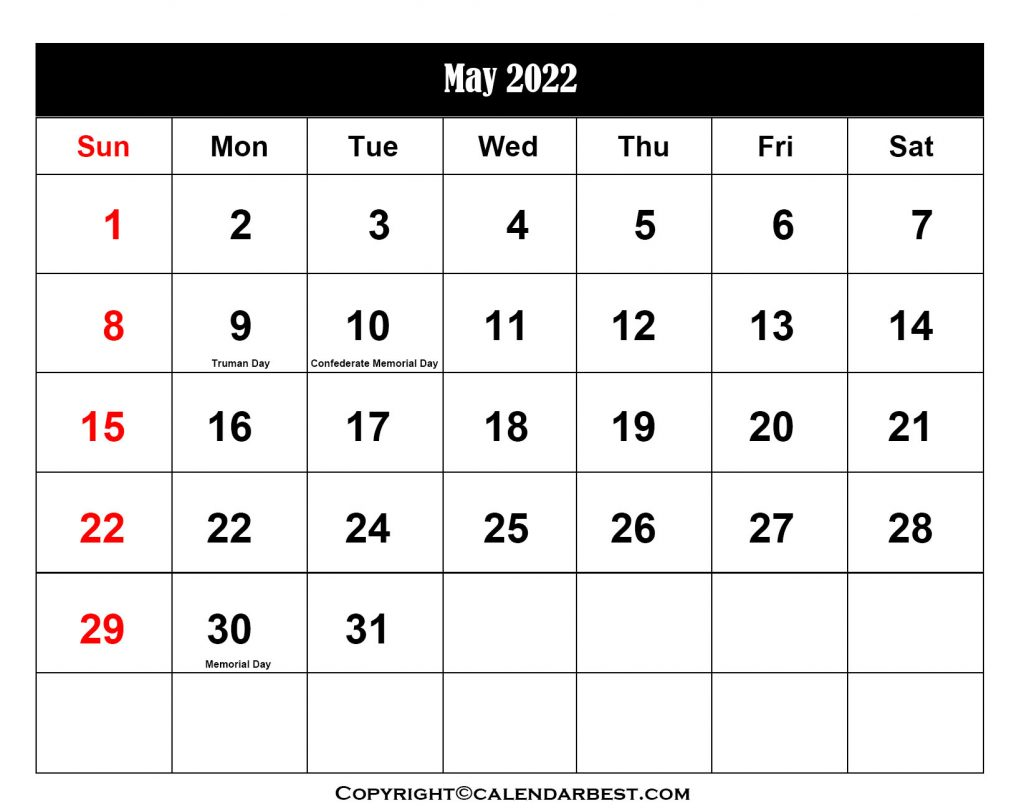 2022 Holiday in May