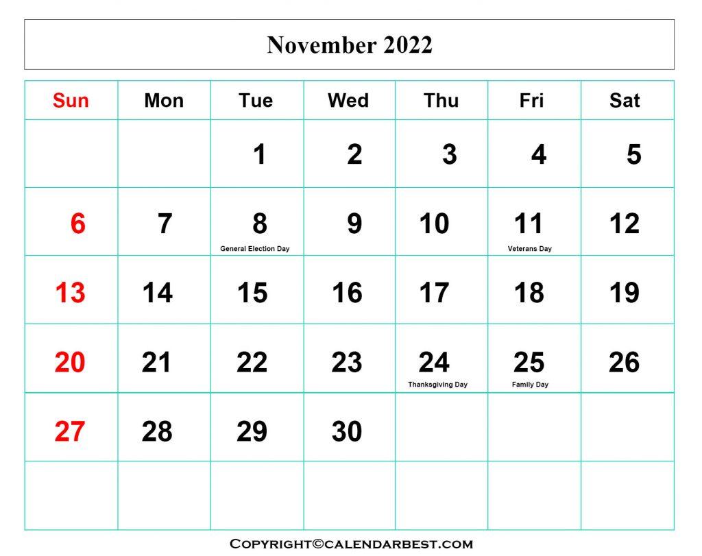 November Calendar 2022 with Holidays