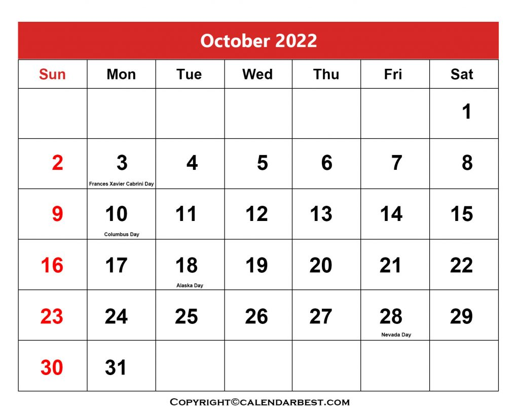 2022 Holiday in October