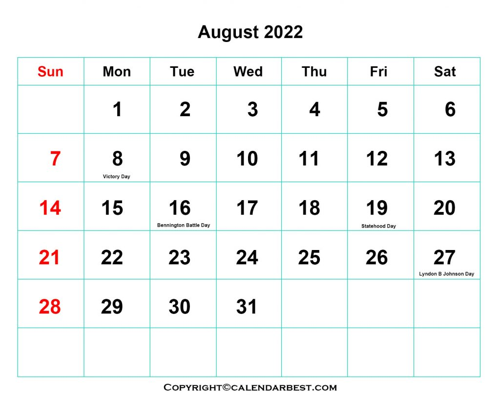 2022 Holiday in August